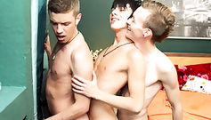 Beautiful young twink boys are doing train fuck