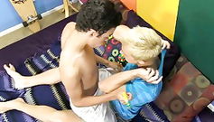 Glamour blonde and brunette twinks are having doggy fuck