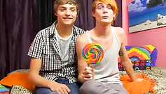 What a great sucker twink! He is sucking cock with candy