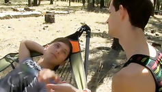 Naughty teen gay is licking up his boyfriend's chest