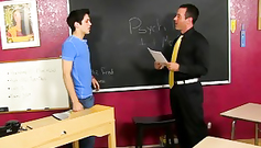 Twink teacher is getting his nipple licked by gay student
