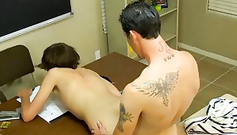 Gay teacher is pulling down twink student's panties