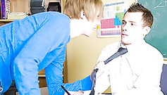 Cute blonde stylish gay is going to punish his teacher's ass with his gay cock