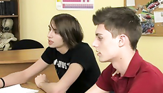 Three handsome glamour twinks are posing in the classroom
